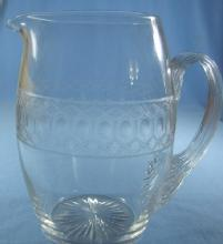 Signed Cut Glass Pitcher - Antique Milk Pitcher