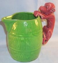 Unusual MONKEY  Handled Green Pottery Milk Pitcher