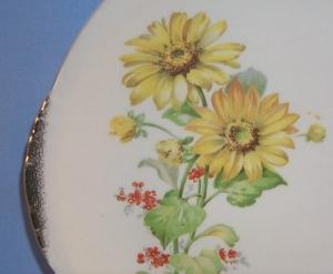 Two Handled Flower Design Pottery Serving Plate