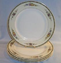Four GERMAN Flower Decorated Gold Trimmed Porcelain Plates