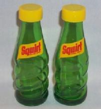 SQUIRT Advertising Green Glass Bottle Salt and Pepper Shakers