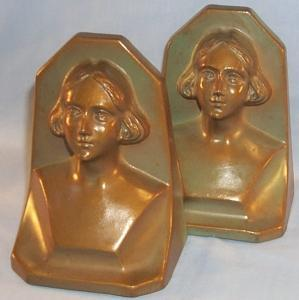 WOMAN Bust Bronze Finished Grey Metal Bookends - Metalware