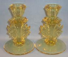 FOSTORIA Yellow BAROQUE Depression Glass Candlesticks