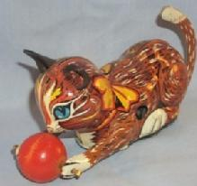 Marx ROLL OVER CAT Tin Wind Up Toy