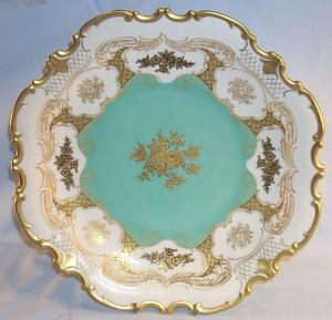 Large Gold Trimmed Decorative Porcelain Serving Plate