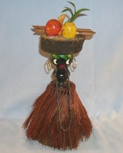 Black Americana NATIVE GIRL IN GRASS SKIRT Figurine - Ethnographic