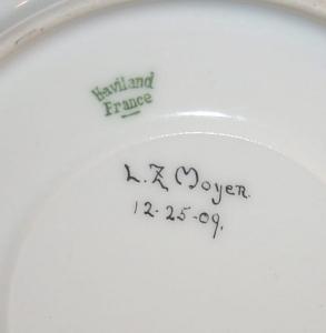 Signed LIMOGES Gold Trimmed Porcelain Cup and Saucer