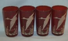 Four Red CRANE Design Water Glasses