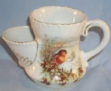 BIRD Decorated Porcelain Shaving / Scuttle Mug