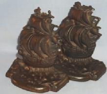 C.I.  A GALLEON IN THE TIME OF ELIZABETH Bookends - Metalware