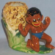 Black Americana NATIVE BOY  Porcelain Planter - Ethnographic
