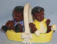 Black Americana BOY AND GIRL IN BASKET Porcelain Salt & Pepper Set - Ethnographic