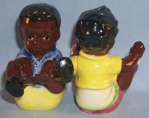 Black Americana BOY AND GIRL IN BASKET Porcelain Salt & Pepper Set - Ethnographic
