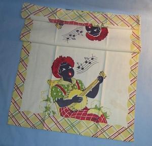 Black Americana MAN PLAYING BANJO Cotton Tea Towel - Ethnographic