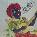 Black Americana MAN PLAYING BANJO Cotton Tea Towel - Ethnographic