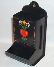 Hand Painted Tin Wall Mounted Matchholder in Original Box - Tobacciana