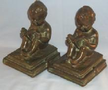 BOY READING BOOK Bronze Bookends - Metalware