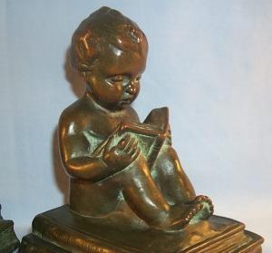 BOY READING BOOK Bronze Bookends - Metalware