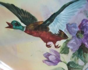Colorful Hand Painted Signed LIMOGES Porcelain Duck Plate