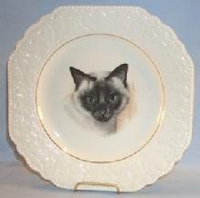 SIAMESE CAT Portrait Porcelain Plate