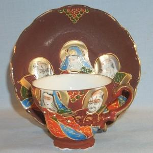 Oriental Demitasse Cup and Saucer - Porcelain