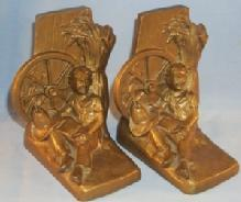 HUCKLEBERRY FINN Bronze Finished Grey Metal Bookends - Metalware