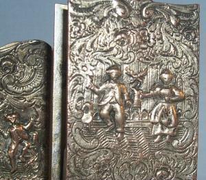 Silver Plated Ornate Cigarette / Match Holder - Tobacciana