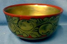 USSR Russian Enamel  Folk Art Bowl - Ethnographic Folk Art