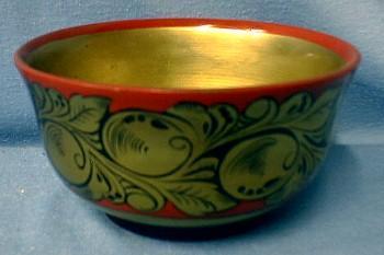 USSR Russian Khokhloma Enamel  Folk Art Bowl - Ethnographic Folk Art