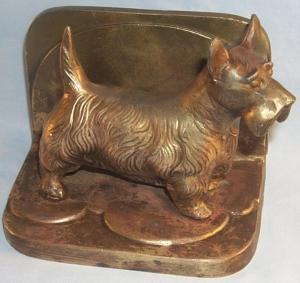 One Frankart SCOTTIE DOG Copper Finished Bookend - Metalware