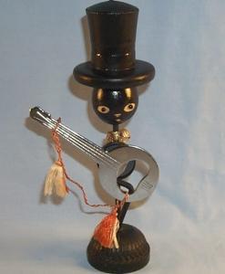Decorative Black Americana BANJO Bottle Opener Holder Wood and Metal Figurine - Ethnographic