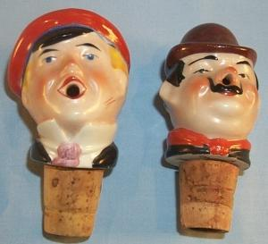 Set of Six German Head Figures Liquor Pouring Spouts with Wood Storage Rack