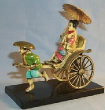 Hand Painted Ornate CHINESE RICKSHAW Figurine on Wooden Base in Box - Ethnographic