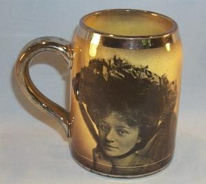 Ridgways Semi Porcelain Silver Trimmed WOMEN PORTRAIT Mug