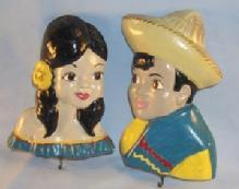 Matched Pair Mexican Boy and Girl Chalkware Holders for Pot Holders - Ethnographic