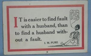 Black Americana POSTCARD - It's Easier To Find Fault With A Husband - Ethnographic