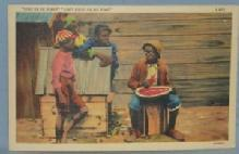 Black Americana POSTCARD - Give Us De Rine - Ethnographic