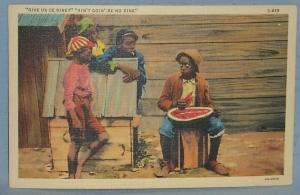 Black Americana POSTCARD - Give Us De Rine - Ethnographic