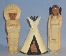 Three AMERICAN INDIAN Plastic Figurines - Ethnographic