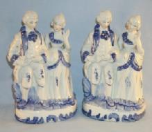 Two Contemporary FLOW BLUE Man and Woman Porcelain Figurines