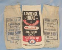 Three LAWRENCE BRAND Lead Shot Advertising Canvas Bags