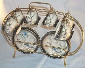 6 DRAGONWARE Demitasse Porcelain Cups and Saucers in Metal Storage Rack