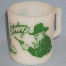 Green HOPALONG CASSIDY Advertising Milk Glass Mug