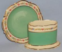 U.S. Zone Green ROYAL BAYREUTH Porcelain Matchholder and Ashtray Set