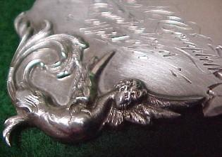 Sterling  Art Nouveau Luggage Tag ANGEL Leather Strap- Silver