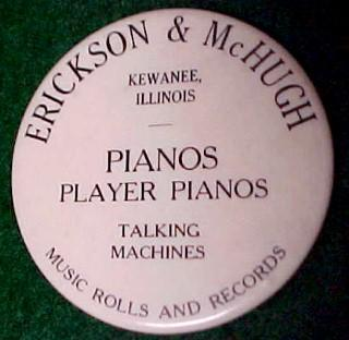 Old ERICKSON McHUGH Player Piano Mirror - Advertising