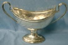 vintage Silver Pedestal Candy Dish with Cut Glass Insert