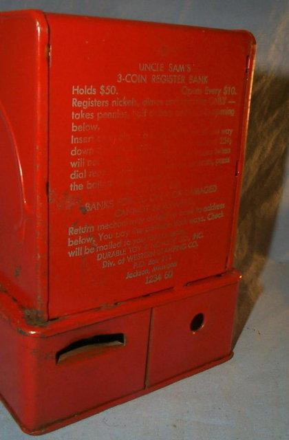 Red UNCLE SAM'S  Register Bank - Metalware