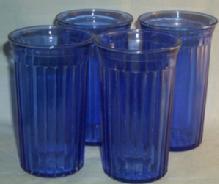 (4)  Cobalt AURORA Depression Glass Tumblers