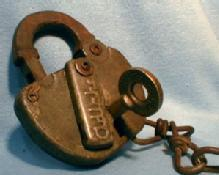 C&O RR Padlock & Key  - Railroad Lock with Brass Key - PAT 204048 - metalware tool